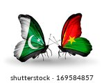 two butterflies with flags on...   Shutterstock . vector #169584857