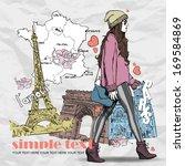 lovely young girl in sketch... | Shutterstock .eps vector #169584869