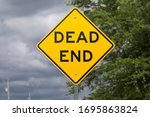 Yellow Dead End Road Sign  Usa...