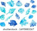 illustration set of sea shells  ... | Shutterstock .eps vector #1695883267