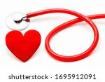 Red Medical Stethoscope And...