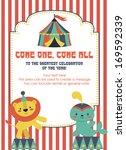fun circus card design. vector... | Shutterstock .eps vector #169592339