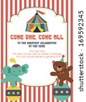 fun circus card design. vector... | Shutterstock .eps vector #169592345