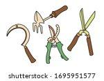 set of vector hand drawn garden ... | Shutterstock .eps vector #1695951577