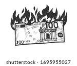 Burning Euro Money Sketch...
