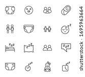 icon set of baby. editable... | Shutterstock .eps vector #1695963664
