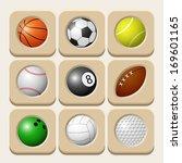 sport balls icon set. raster... | Shutterstock . vector #169601165