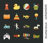 toy icons   flat design   eps10 ...