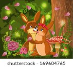 rabbits in love in a natural... | Shutterstock .eps vector #169604765