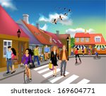 people walking through town on... | Shutterstock .eps vector #169604771