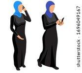 arab muslim woman character...   Shutterstock .eps vector #1696049167