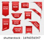 order now red ribbons  online... | Shutterstock .eps vector #1696056547