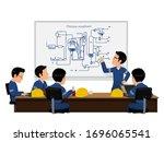 five workers is meeting  on... | Shutterstock .eps vector #1696065541