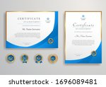 Blue And Gold Certificate With...