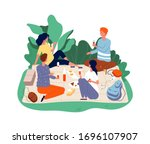 picnic friends. people eating... | Shutterstock .eps vector #1696107907