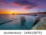 shipwreck at sunset near Coral Bay, Peyia, Paphos, Cyprus - stock photo