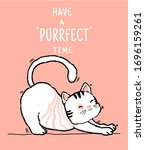 cute doodle happy playful lazy...   Shutterstock .eps vector #1696159261