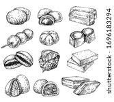 sketch set of japan desserts.... | Shutterstock .eps vector #1696183294