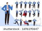 set of modern businessman in... | Shutterstock .eps vector #1696190647