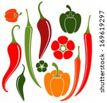 red and green pepper. chili... | Shutterstock .eps vector #169619297