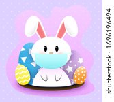 white easter rabbits wearing a... | Shutterstock .eps vector #1696196494