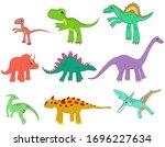big set of different dinosaurs. ... | Shutterstock .eps vector #1696227634