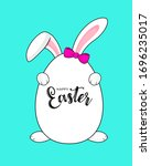 cute cartoon white rabbits with ... | Shutterstock .eps vector #1696235017