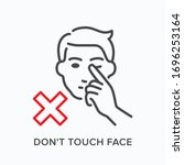 touching face line icon. vector ... | Shutterstock .eps vector #1696253164