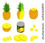 pineapple icons set. isometric...   Shutterstock .eps vector #1696264894