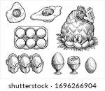 Chicken Fresh Eggs  Vector...