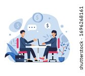businesspeople negotiate prices.... | Shutterstock .eps vector #1696268161