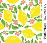 lemon fruit pattern. seamless... | Shutterstock .eps vector #1696285177