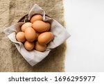Chicken Eggs In A Clay Plate...