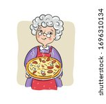 grandma prepared her best pizza ... | Shutterstock .eps vector #1696310134