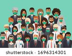 group of people wearing medical ... | Shutterstock .eps vector #1696314301