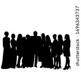 black silhouette a crowd of... | Shutterstock .eps vector #1696343737