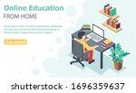vector flat style banner online ... | Shutterstock .eps vector #1696359637