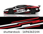 sports car wrapping decal design | Shutterstock .eps vector #1696363144