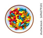 Small photo of Vitamin pills served plate isolated on white background. Omega 3 pill, multi vitamin pill and b vitamin pill serving in dish. Colorful food supplement pills.