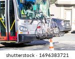 Muni Bus With Bike Rack Along...
