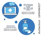 flyer with covid19 prevention...   Shutterstock .eps vector #1696406527