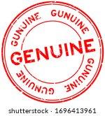 grunge red genuine word round... | Shutterstock .eps vector #1696413961