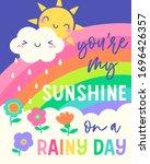 cute sun and cloud cartoon and... | Shutterstock .eps vector #1696426357