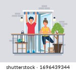 people on balcony doing workout ... | Shutterstock .eps vector #1696439344