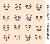 facial mood expression icons... | Shutterstock .eps vector #169644755