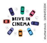 drive in open air cinema... | Shutterstock .eps vector #1696453204
