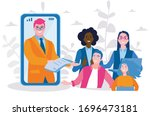 people are talking to each... | Shutterstock .eps vector #1696473181