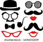 set of mustaches  lips and... | Shutterstock .eps vector #169653209