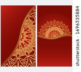 card template with floral... | Shutterstock .eps vector #1696535884