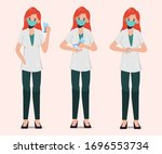 doctor wear mask and present... | Shutterstock .eps vector #1696553734